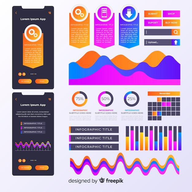 Infographic elementsammlung des farbverlaufs Kostenlosen Vektoren