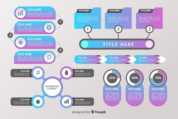 Infographic elementsammlung des flachen designs Kostenlosen Vektoren