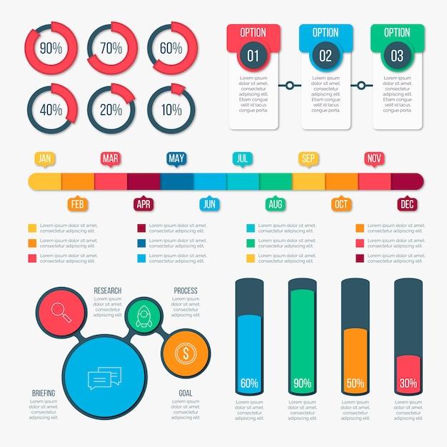 Infographic elementsatz des flachen designs Kostenlosen Vektoren