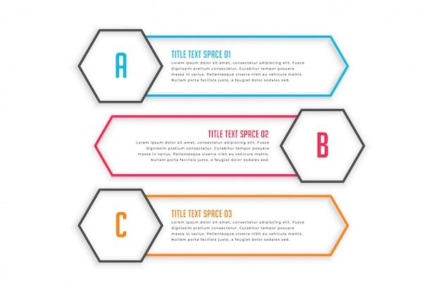 Infographic fahnen mit drei linienart Kostenlosen Vektoren