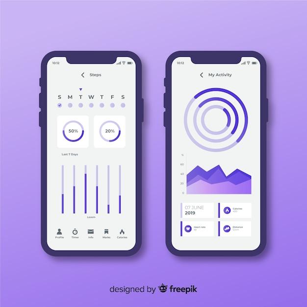 Infographic flaches design der beweglichen app der eignung Kostenlosen Vektoren