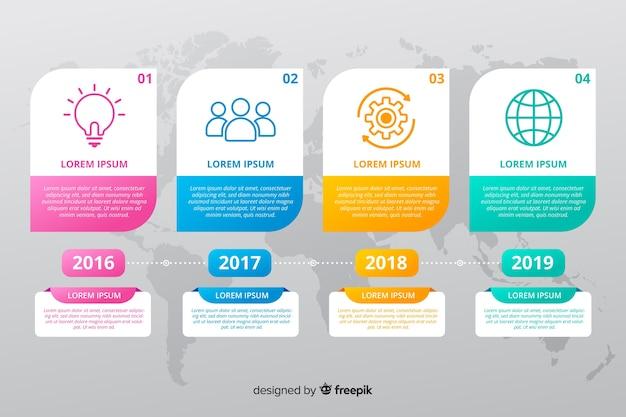 Infographic flaches design der bunten zeitachse Kostenlosen Vektoren