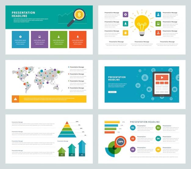 Infographic ikonen und elemente des flachen designvektors der geschäftsdarstellungsschablonen. Premium Vektoren