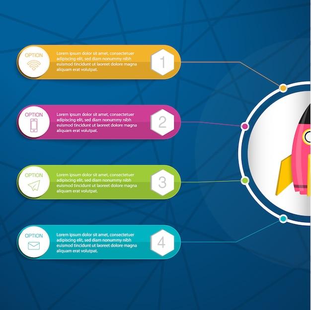 Infographic, illustration mit bunter textbox für vier eigenschaften des geschäftsprojektes oder beginnen oben Premium Vektoren