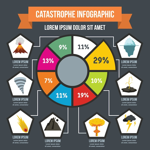 Infographic konzept der katastrophe, flache art Premium Vektoren