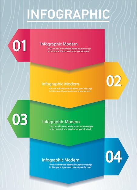 Infographic konzeptschablone des pfeiles mit 4 wahlen Premium Vektoren