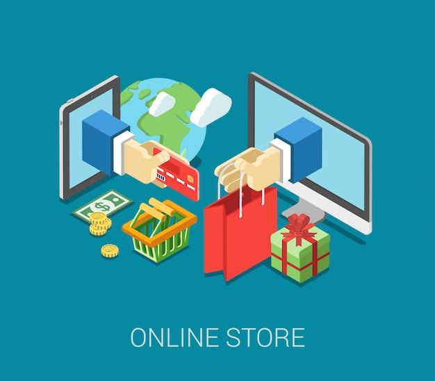 Infographic konzeptvektor des flachen isometrischen e-commerce-netzes des onlineshops 3d. internetverkaufswarenkorb, zahlung, prüfung, geschenkbox. handgriffkreditkartenstock von der tablette, papiertüte vom computer. Premium Vektoren