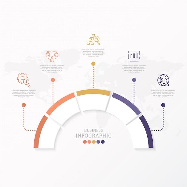 Infographic kreisdesignschablone des vektors mit fünf wahlen oder schritten. Premium Vektoren