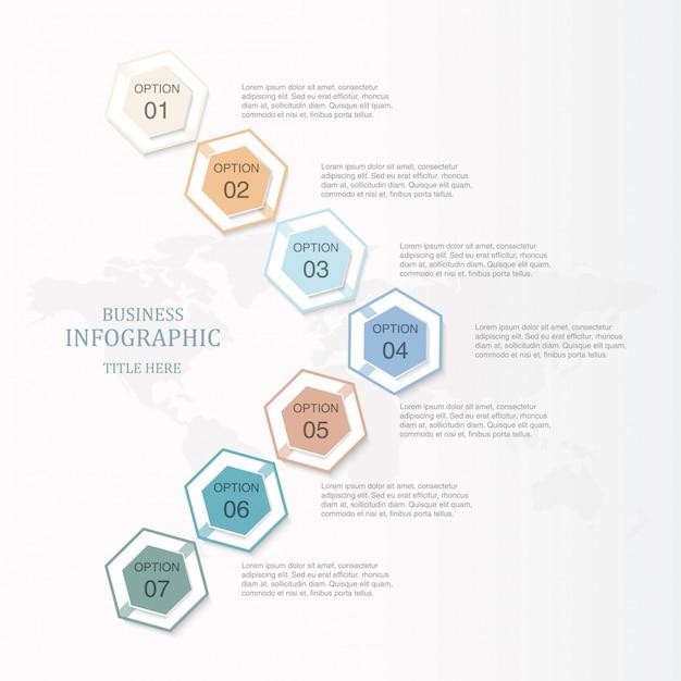 Infographic option des hexagons 7 oder schritte und ikonen der grundlegenden farbe für geschäftskonzept. Premium Vektoren