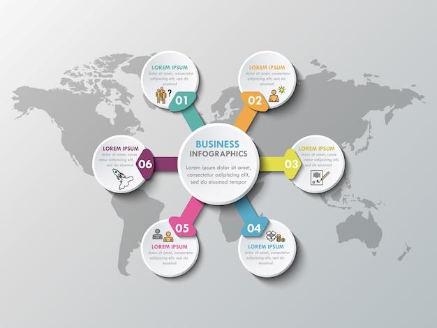Infographic papierelemente 3d für sechs wahlen. metaball geschäftsinfografiken Premium Vektoren
