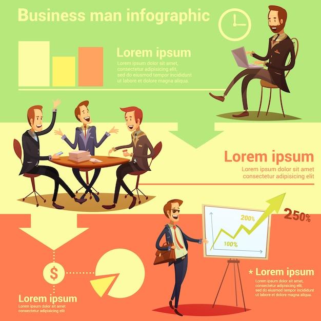 Infographic satz des geschäftsmannes mit arbeitszeit- und erfolgssymbolkarikatur vector illustration Premium Vektoren