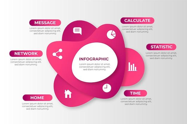 Infographic schablone der abstrakten form der steigung Kostenlosen Vektoren