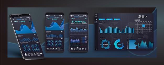 Infographic schablone der beweglichen app mit wöchentlichen und jährlichen statistikdiagrammen des modernen designs. kreisdiagramme, workflow, webdesign Premium Vektoren