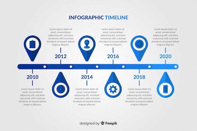 Infographic schablone der bunten modernen zeitachse Kostenlosen Vektoren