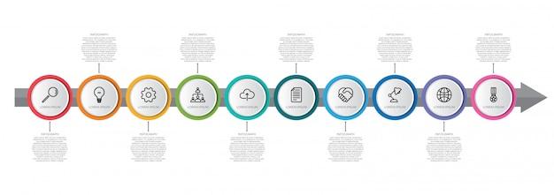 Infographic schablone der bunten zeitachse mit pfeil Premium Vektoren