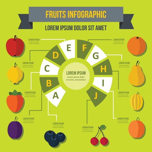Infographic schablone der frucht, flacher stil Premium Vektoren