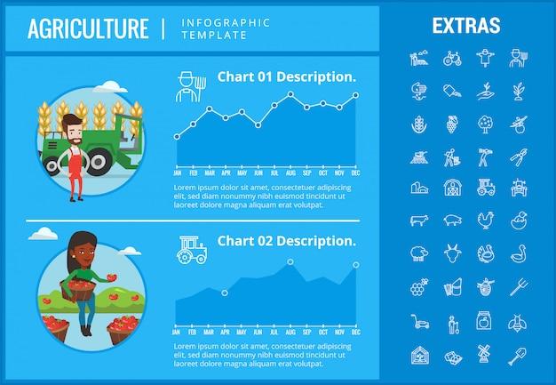 Infographic schablone der landwirtschaft, elemente, ikonen. Premium Vektoren