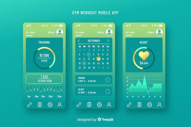 Infographic schablone der mobilen app der eignung Kostenlosen Vektoren