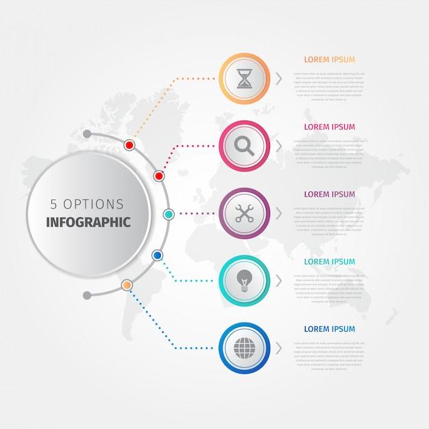 Infographic schablone der modernen geschäftsschritte Premium Vektoren