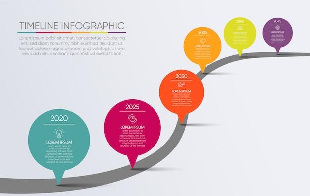 Infographic schablone der präsentations-geschäftsstraßenkarte Premium Vektoren