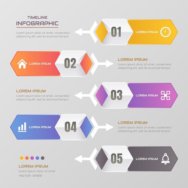 Infographic schablone der zeitachse mit ikonen Premium Vektoren