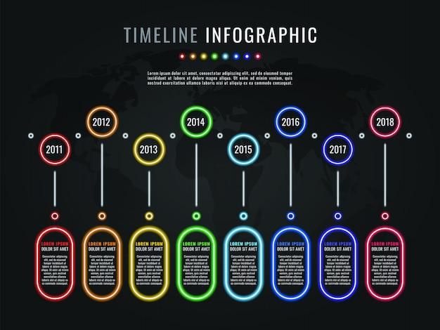 Infographic schablone der zeitachse mit neonglühenelementen und textboxen auf dunklem hintergrund Premium Vektoren