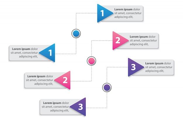 Infographic schablone des darstellungsgeschäfts mit dem vektor mit 3 wahlen Premium Vektoren