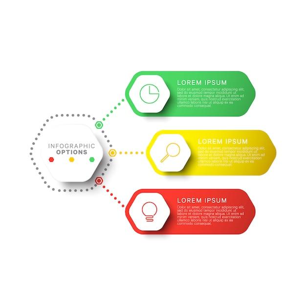 Infographic schablone des einfachen layouts mit drei schritten mit sechseckigen elementen. geschäftsprozessdiagramm für broschüre, banner, geschäftsbericht und präsentation Premium Vektoren