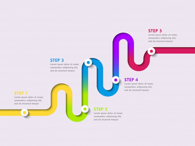 Infographic schablone des fahrbahnstandortes mit einer stufenweisen struktur. stilvolle serpentine in form von linienpfeilen Premium Vektoren