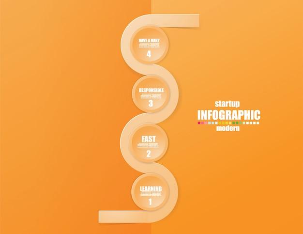 Infographic schablone des geschäfts das konzept die treppenschritte. steigern sie die orange farbe. Premium Vektoren