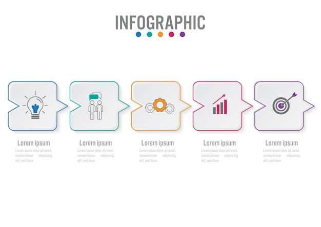 Infographic schablone des geschäfts mit 5 wahlen Premium Vektoren