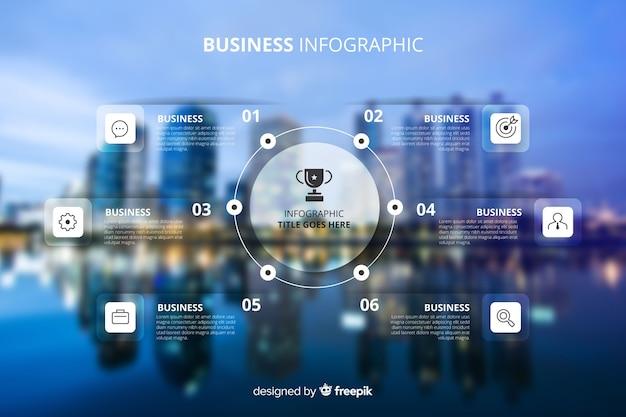 Infographic schablone des geschäfts mit foto Kostenlosen Vektoren