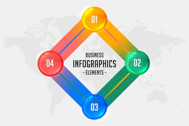 Infographic schablone des geschäfts mit vier schritten Kostenlosen Vektoren