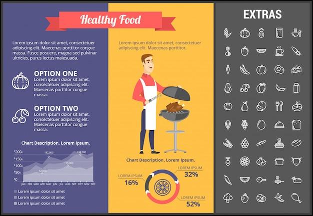 Infographic schablone des gesunden lebensmittels, elemente, ikonen Premium Vektoren