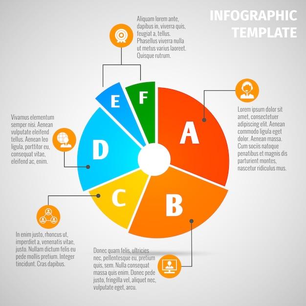 Infographic schablone des kreisdiagramm-treffens Premium Vektoren