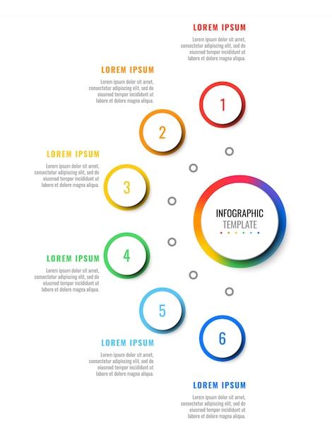 Infographic schablone des plans mit sechs schritten mit runden realistischen elementen 3d. prozessdiagramm für broschüre, banner, geschäftsbericht Premium Vektoren