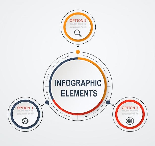 Infographic schablone des präsentationsgeschäfts mit 3 wahlen. Premium Vektoren