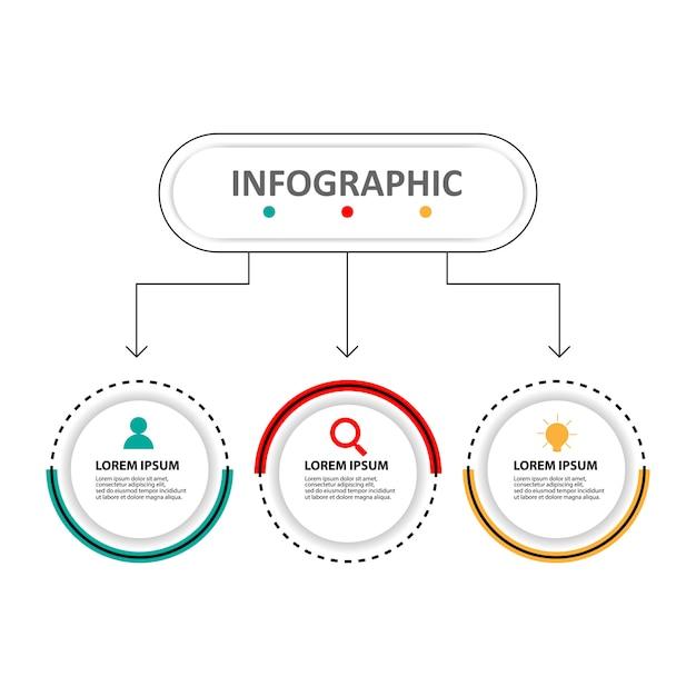 Infographic schablone des präsentationsgeschäfts mit 3 wahlen Premium Vektoren