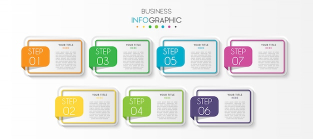 Infographic schablone des präsentationsgeschäfts mit 7 wahlen oder schritten Premium Vektoren