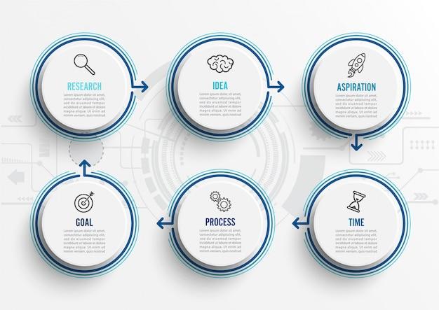 Infographic schablone des vektors mit ikonen und 6 wahlen oder schritten. Premium Vektoren