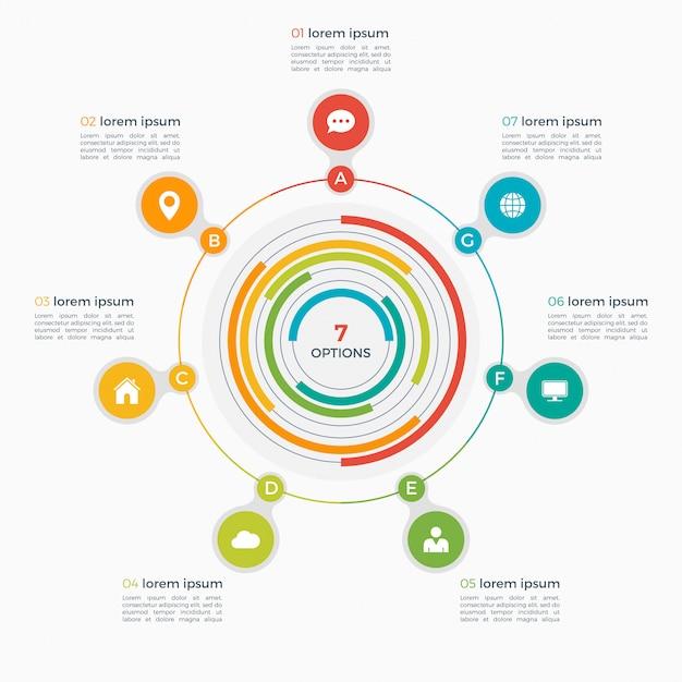 Infographic schablone des vektors mit integrierten kreisen Premium Vektoren