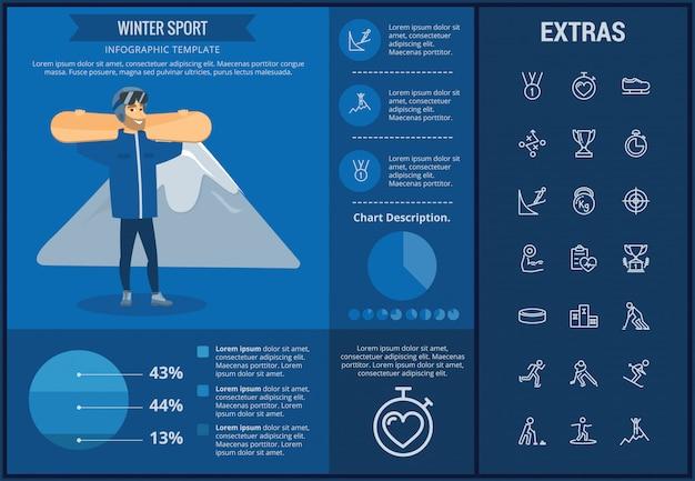 Infographic schablone des wintersports, elemente, ikonen Premium Vektoren