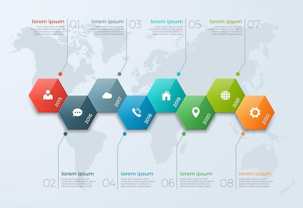 Infographic schablone des zeitachse-diagramms mit 8 wahlen Premium Vektoren