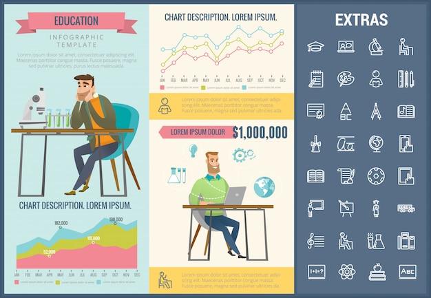 Infographic schablone, elemente und ikonen der bildung Premium Vektoren