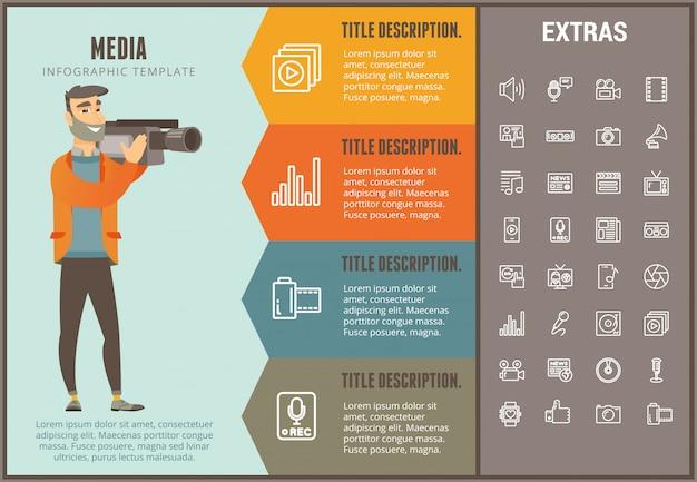 Infographic schablone, elemente und ikonen der medien Premium Vektoren