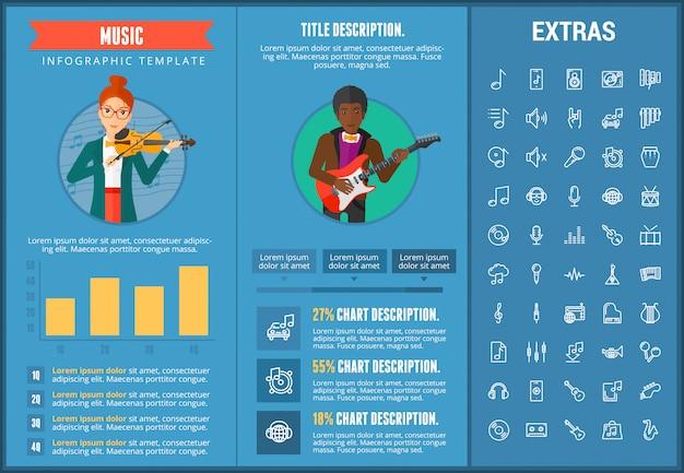 Infographic schablone, elemente und ikonen der musik Premium Vektoren