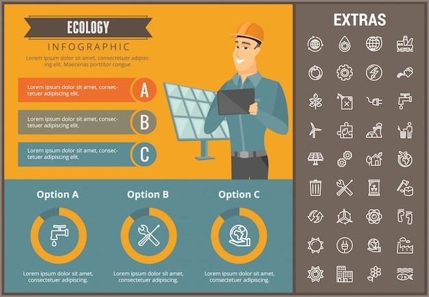 Infographic schablone, elemente und ikonen der ökologie Premium Vektoren