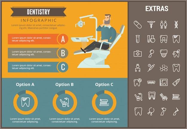 Infographic schablone, elemente und ikonen der zahnheilkunde Premium Vektoren