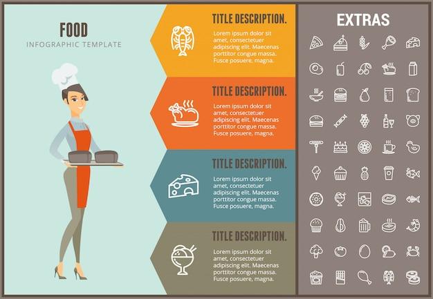 Infographic schablone, elemente und ikonen des lebensmittels Premium Vektoren