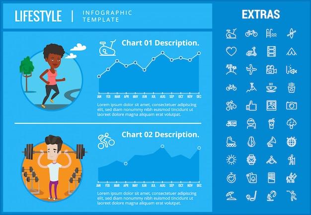 Infographic schablone, elemente und ikonen des lebensstils Premium Vektoren